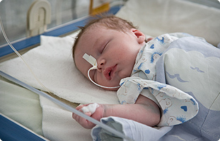 Baby in Gomel Children's Hospital near Chernobyl