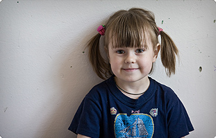 Young girl at Gomel Children's Hospital in Belarus